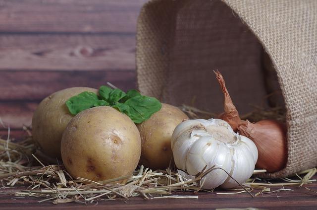 brambory a česnek
